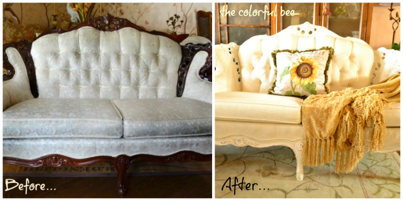 before and after painted a fabric sofa with Annie Sloan Chalk Paint