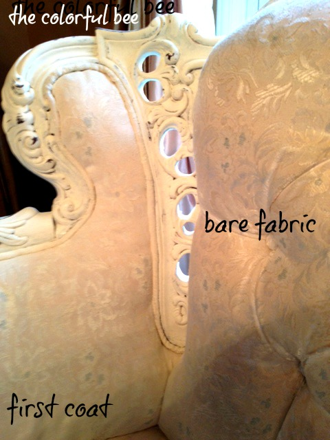 bare babric vs one coat of chalk paint o a loveseat