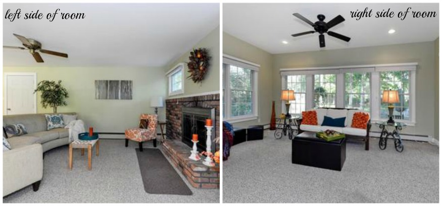 Creating two seating areas in a room will help buyers see how functional your home is