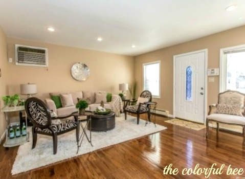 a staged living room in Elmont NY